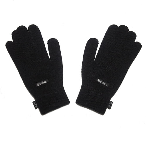 [nine eleven] Basic logo Knitted gloves - Black