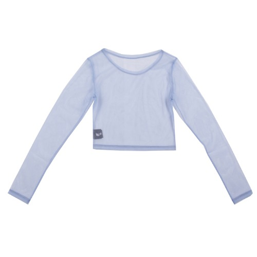 [UGLYSHADOW]  MESH CROP L-S(BLUE)