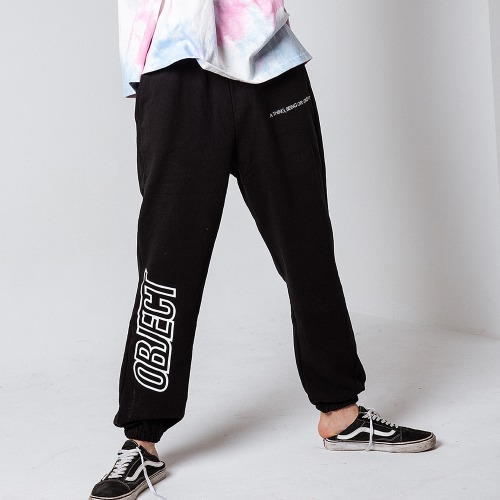 [OBJECT] OBJECT LOGO SWEATPANTS - BLACK