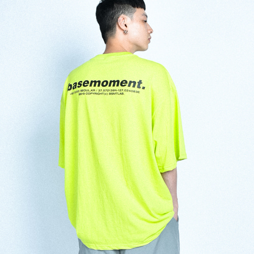 [BASEMOMENT] Essential Logo Oversize TEE Lime