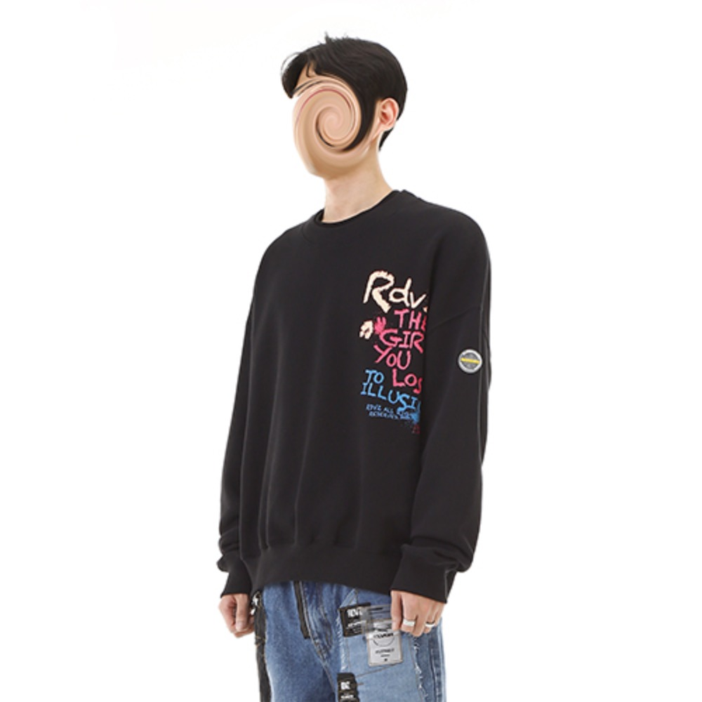 [RENDEZVOUZ] CRAYON SWEAT TOP BLACK