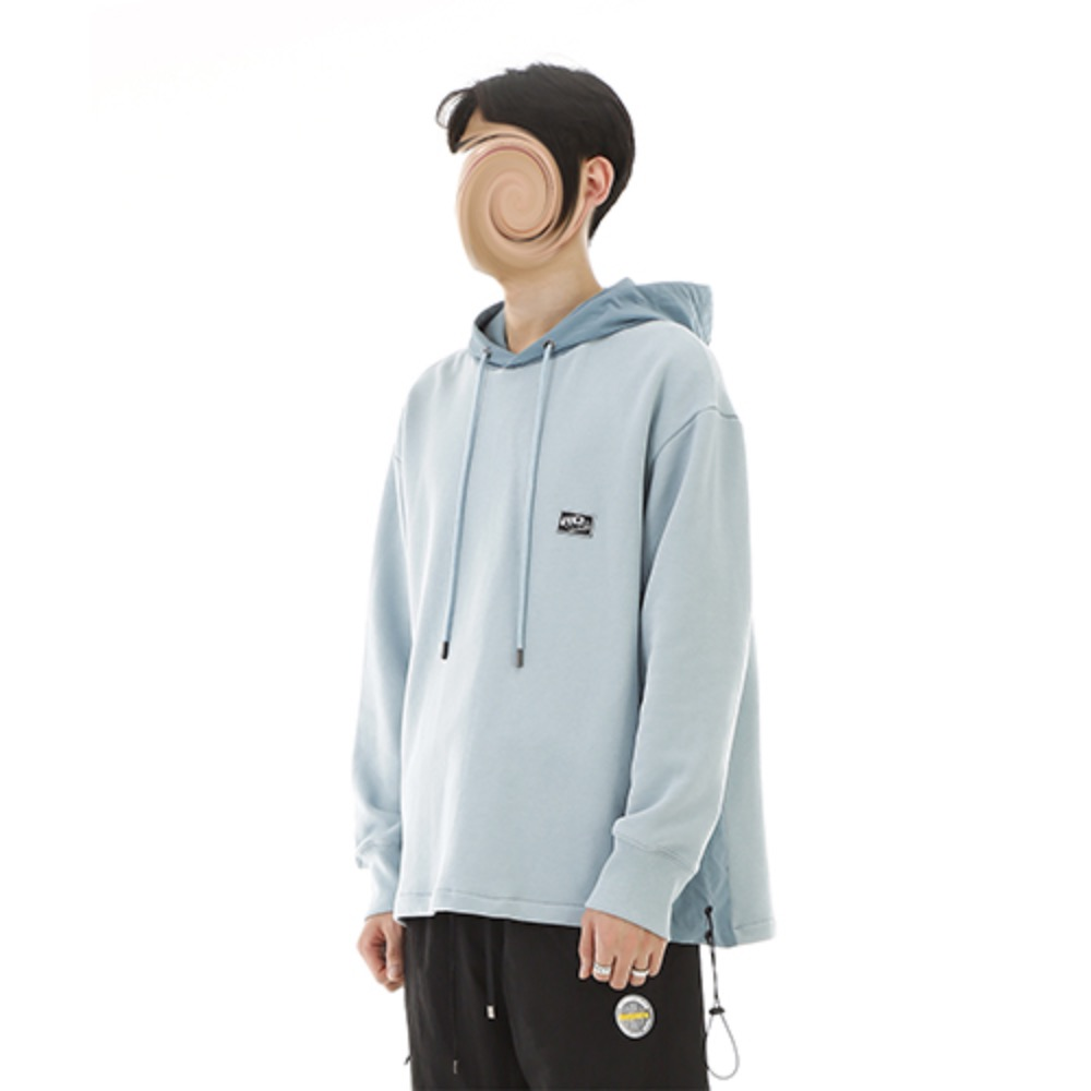 [RENDEZVOUZ] CHARACTER SIDE BLOCK HOODIE SKYBLUE