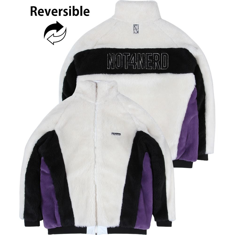 [NOT4NERD] Reversible Symbol Logo Boa Fleece Jacket - White