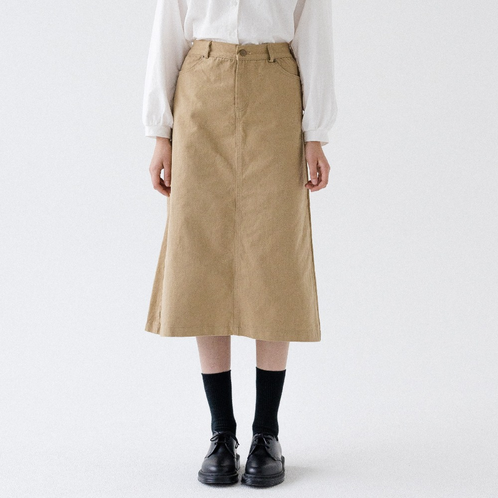 [ARDOROBE] BANDING TWILL COTTON LONG SKIRT ASK193001-BG