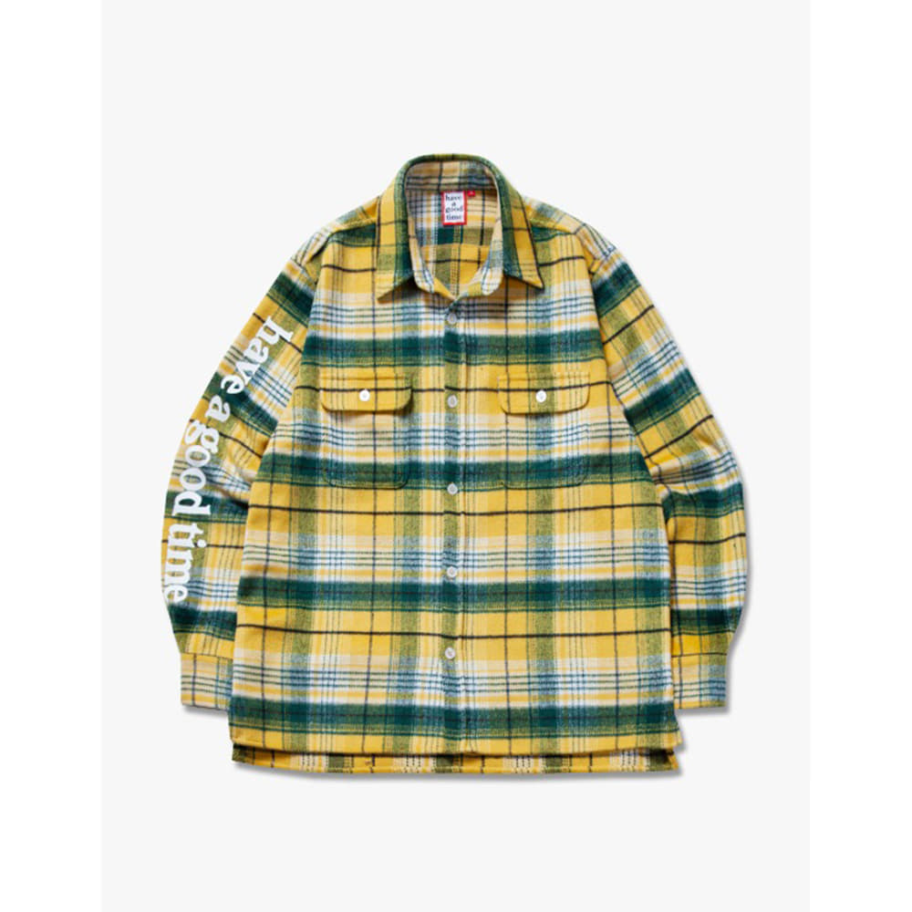 [have a good time] Side Logo Checked Shirts - Yellow