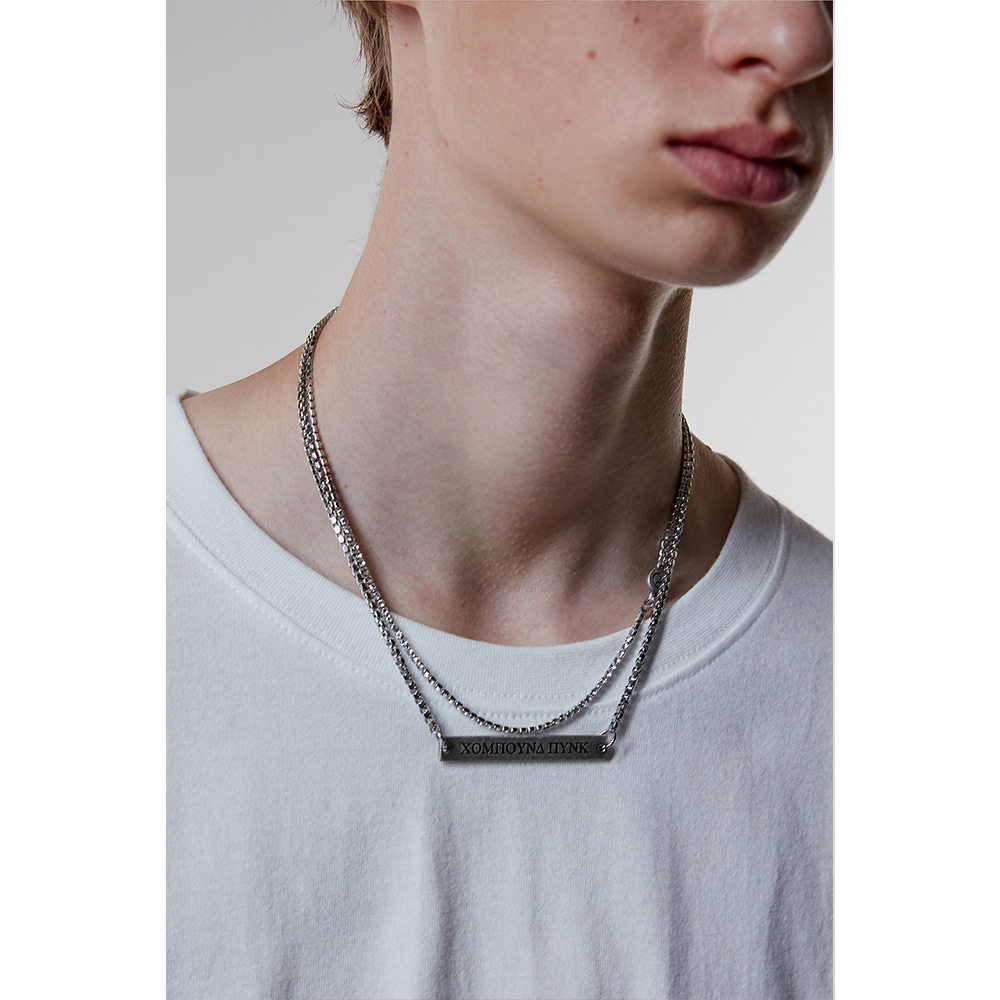 [ANOTHERYOUTH] layered necklace - silver