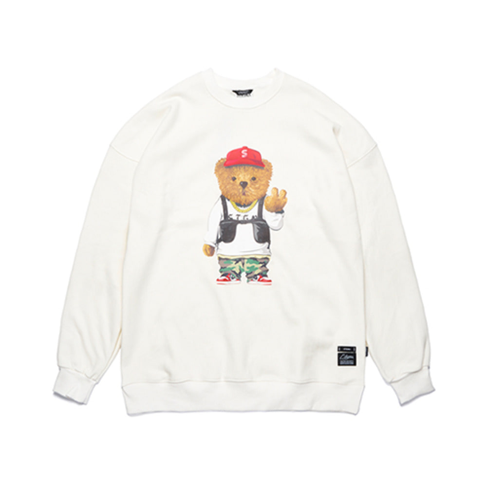 [STIGMA]V BEAR OVERSIZED HEAVY SWEAT CREWNECK - WHITE