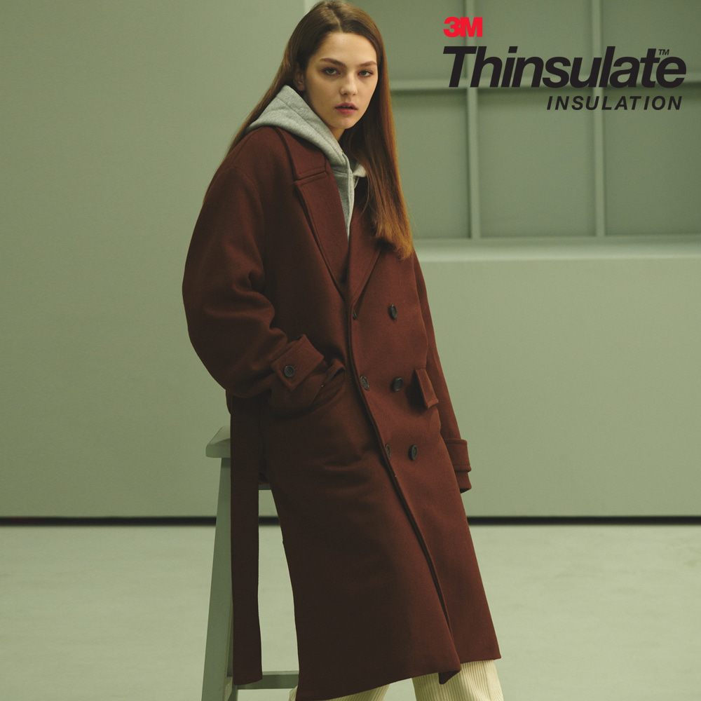 [ANOUTFIT] UNISEX OVERFIT 3M THINSULATE ROBE COAT BROWN