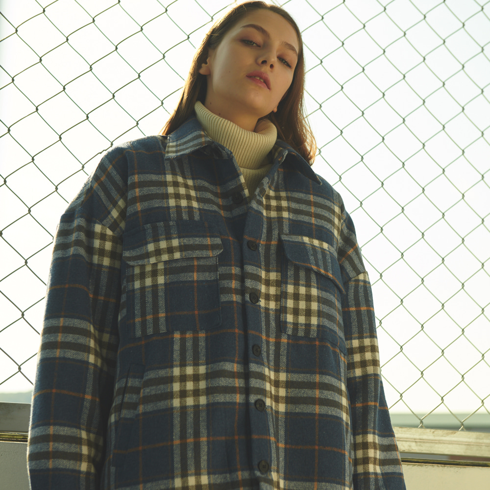 [ANOUTFIT] UNISEX OVERFIT FLANNEL CHECK PADDING JACKET BLUE