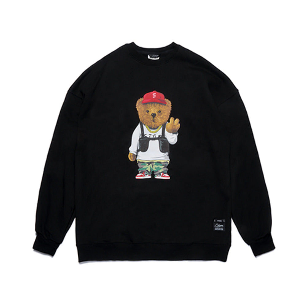 [STIGMA]V BEAR OVERSIZED HEAVY SWEAT CREWNECK - BLACK