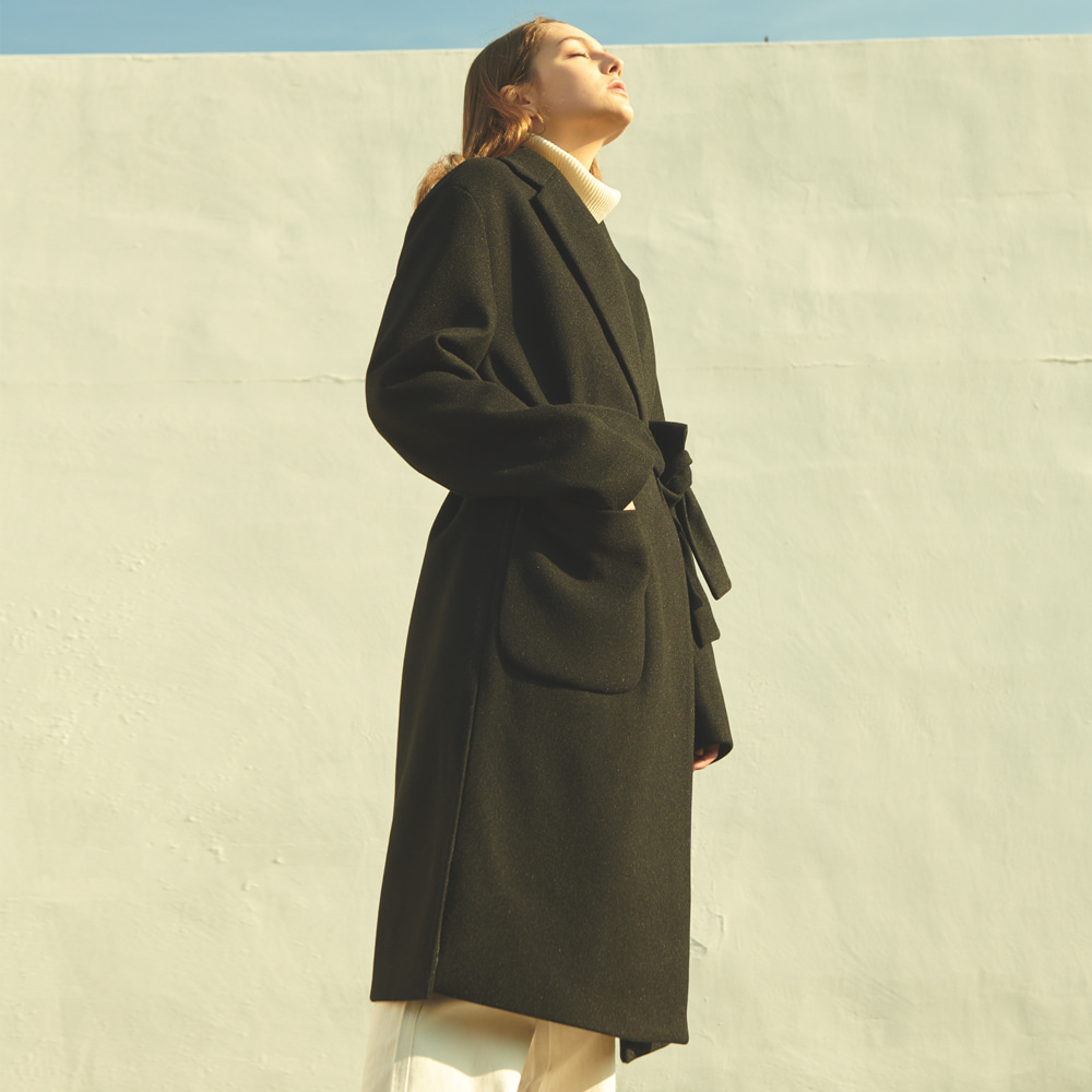 [ANOUTFIT] UNISEX OVERFIT SHADOW LOBE COAT BLACK