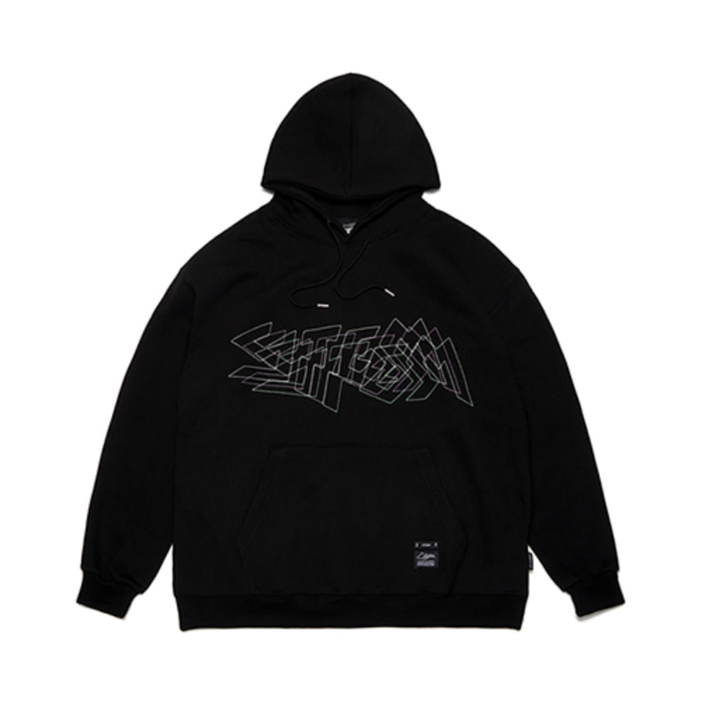 [STIGMA]DOTTED LINE OVERSIZED HEAVY SWEAT HOODIE - BLACK