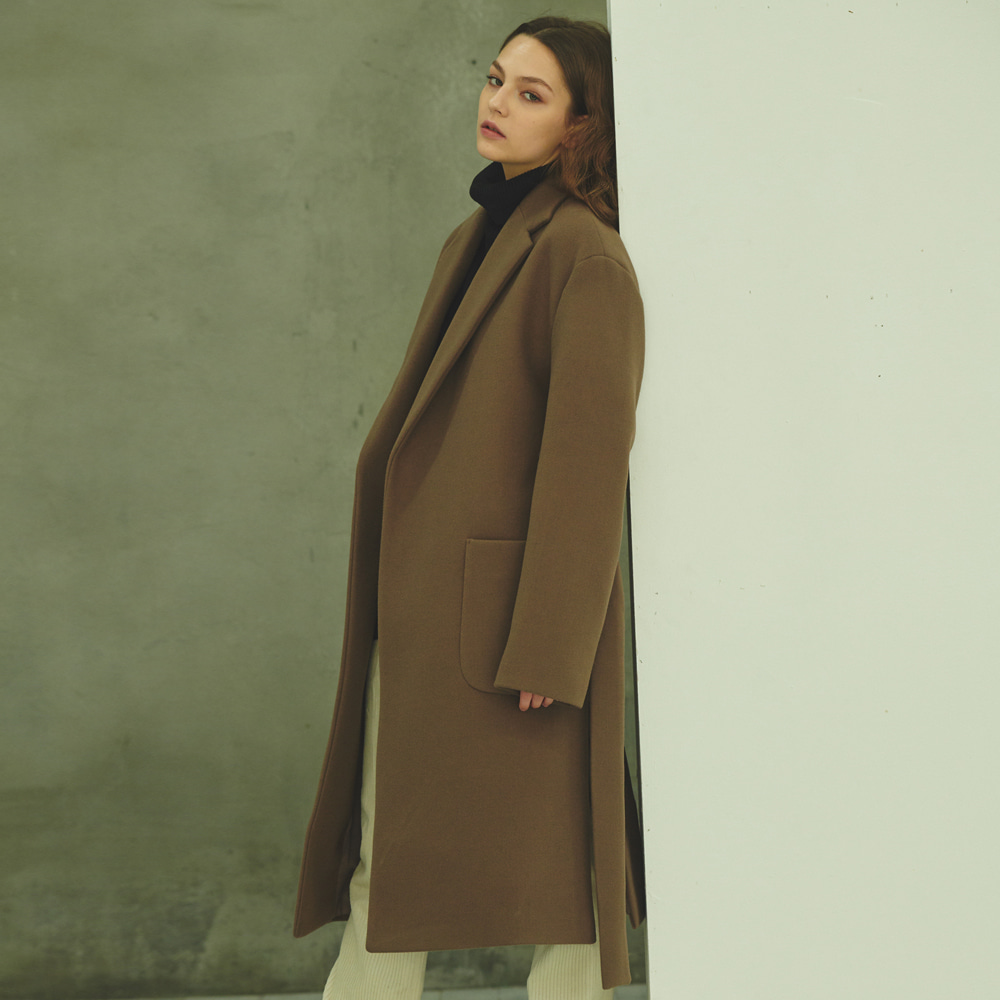 [ANOUTFIT] UNISEX OVERFIT SHADOW LOBE COAT BROWN