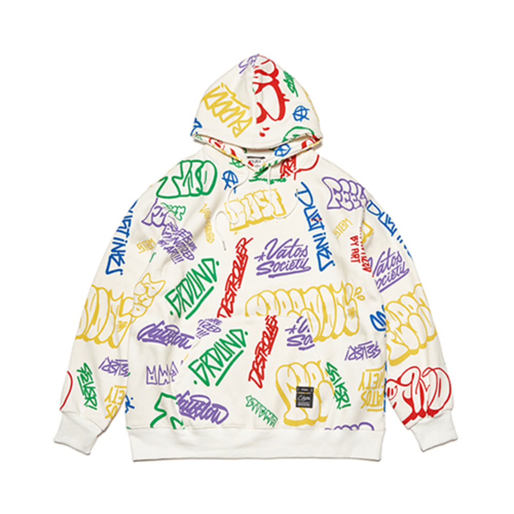 [STIGMA]PAINTING OVERSIZED HEAVY SWEAT HOODIE - WHITE MULTI