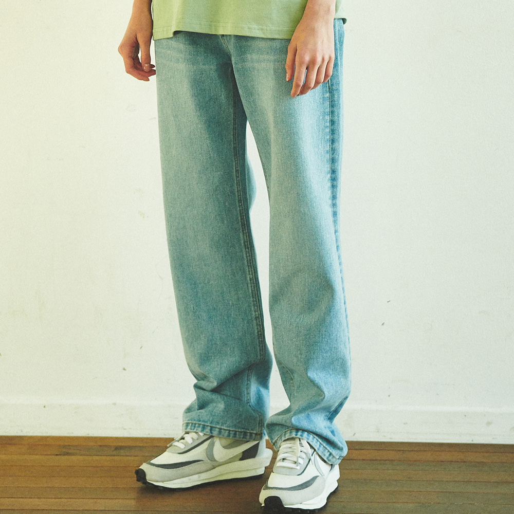 [ANOUTFIT] UNISEX WIDE FIT DENIM PANTS LIGHT BLUE