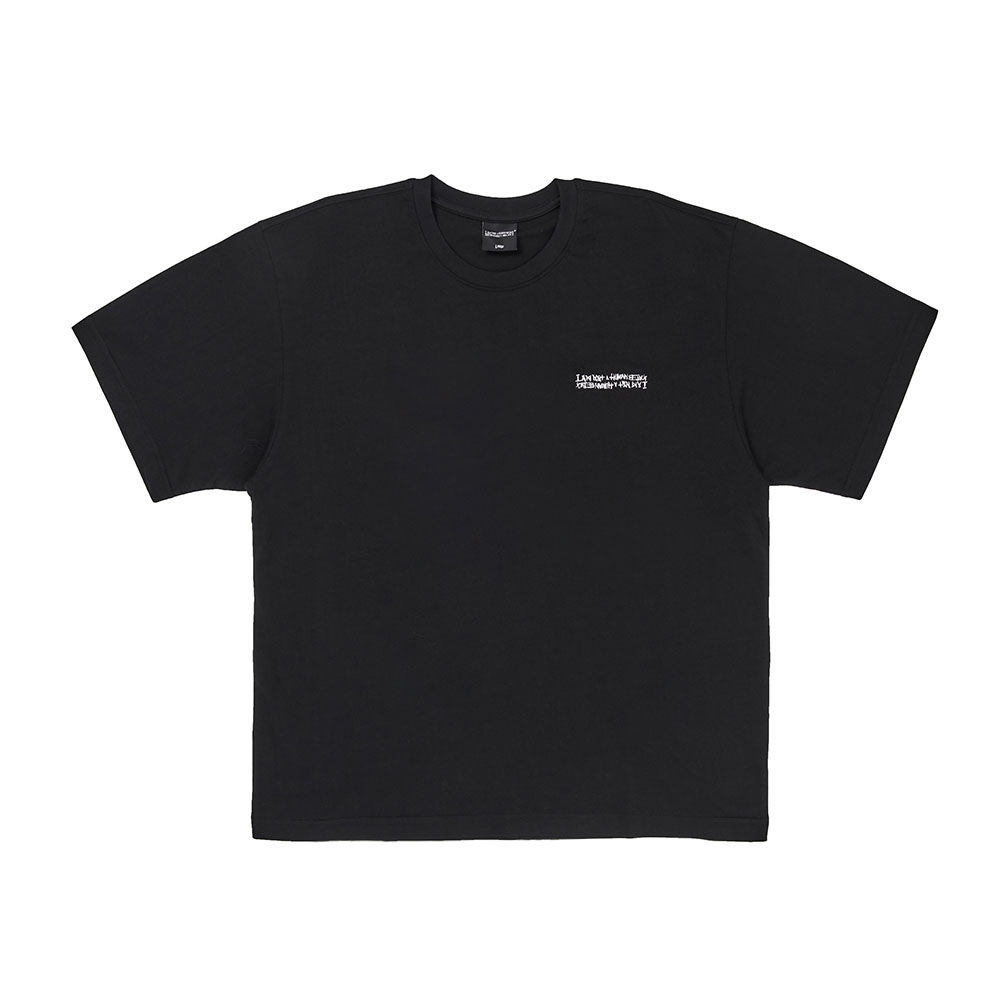 Embroidery Front Short Sleeve T-Shirt - BLACK