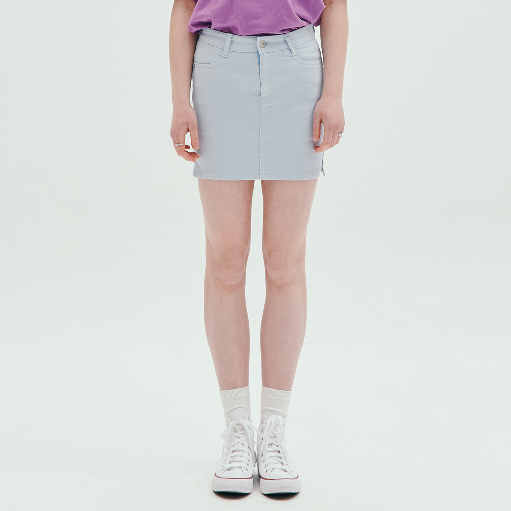 [PINK PINEAPPLE] COLOR FITTED SKIRT_SKY BLUE