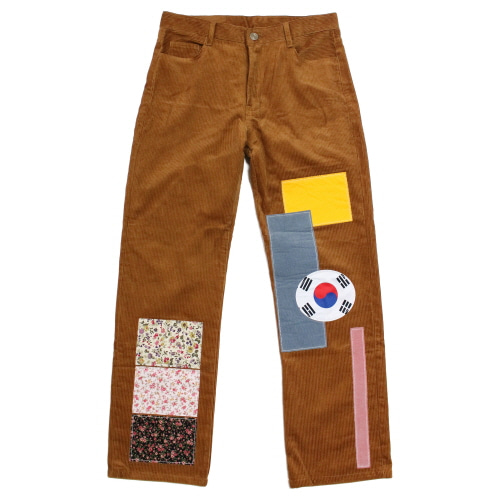 [이지비지] Flag Patchwork Pants - Brown