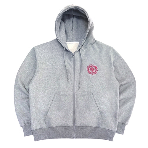 [18FW] OFFICIAL SEALED ZIP-UP HOODIE - GREY/RED
