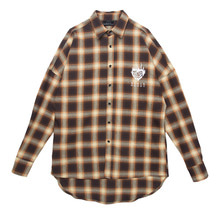 (30%SALE) [Black Hoody]Flame Rose Flannel Check Shirt Yellow