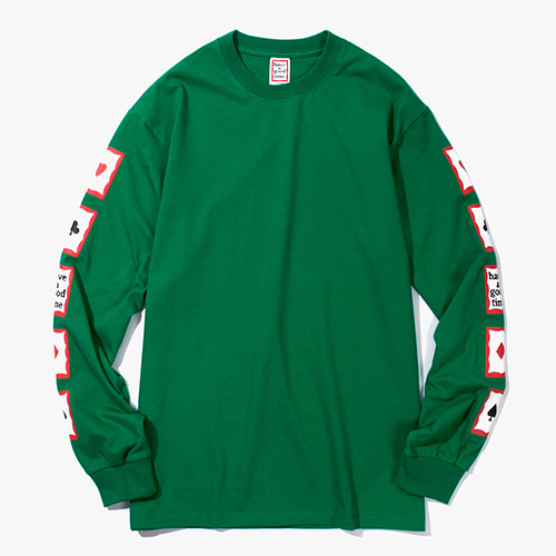 [Have a good time] Playing Card Arm L/S Tee - Green