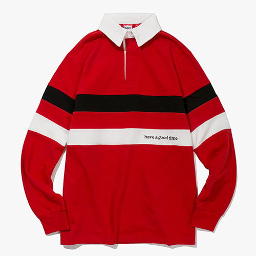 [Have a good time] Logo Rugby Shirts - Red