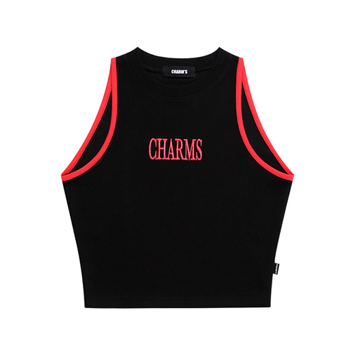 [CHARM'S] LOGO SLEEVELESS TOP - BK