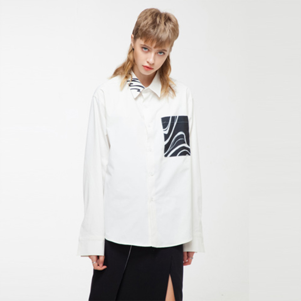 [THE GREATEST] GT18FW01 EFFECT POCKET SHIRT WHITE