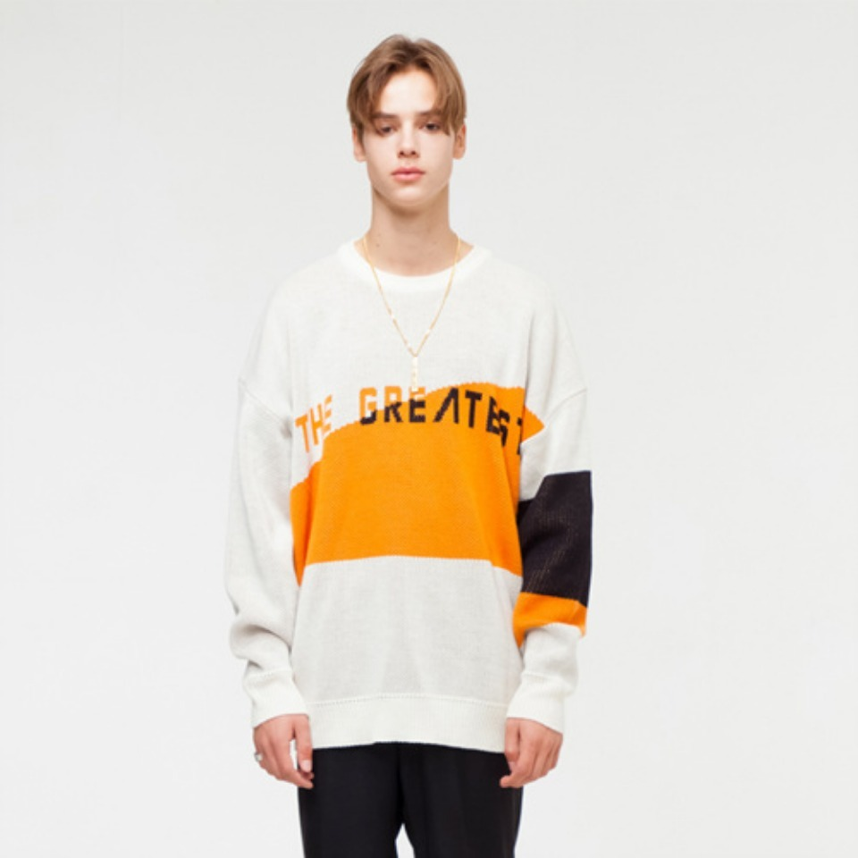[THE GREATEST] GT18FW04 OVERSIZE LOGO KNIT IVORY