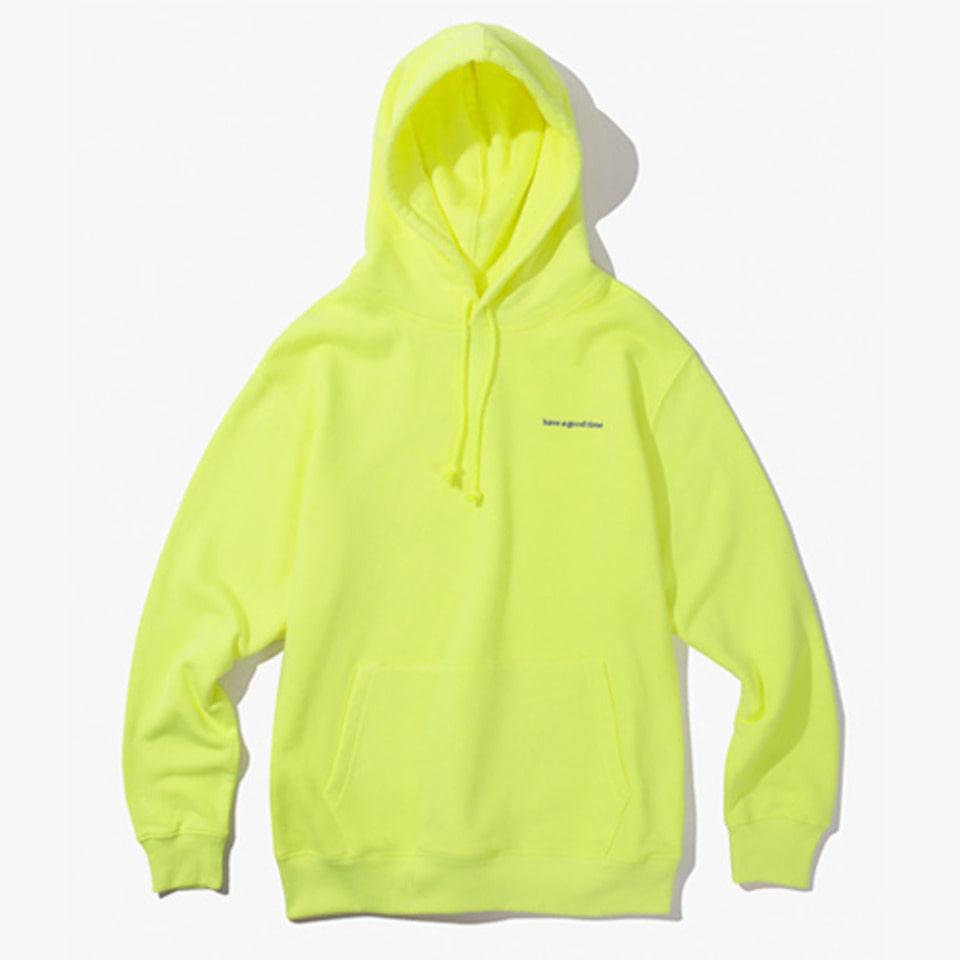[Have a good time] SIDE LOGO PULL OVER HOODIE - NEON GREEN