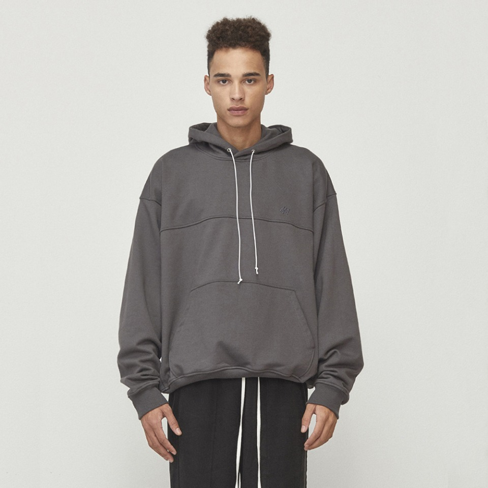 [남주혁 착용] [D.PRIQUE] Oversized String Hoodie Charcoal (D18F152)
