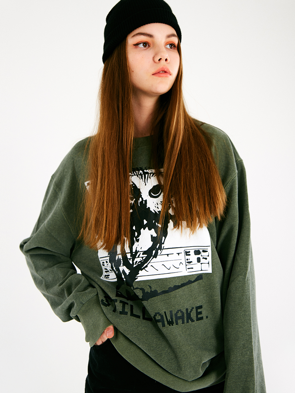 [매드마르스]HOOD NIGHT SWEATSHIRT_KHAKI