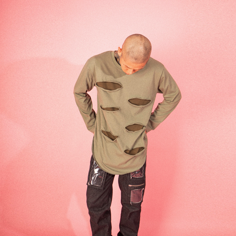 [LTCK] Destroyed Long Sleeve - KHAKI
