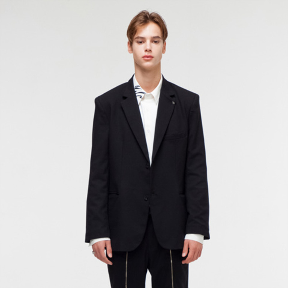 [THE GREATEST] GT18FW07 BROOCH BLAZER BLACK