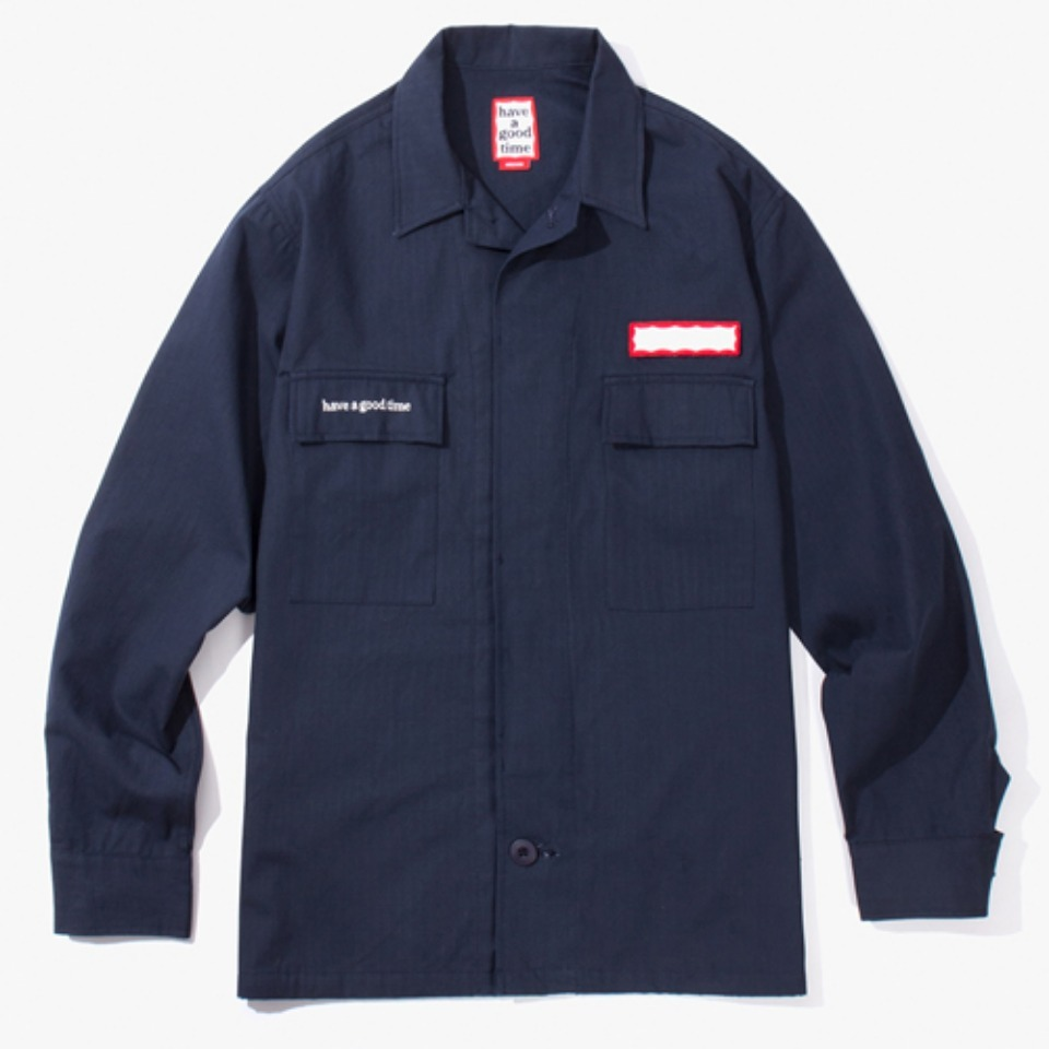 [Have a good time] RIPSTOP ARMY SHIRT - NAVY