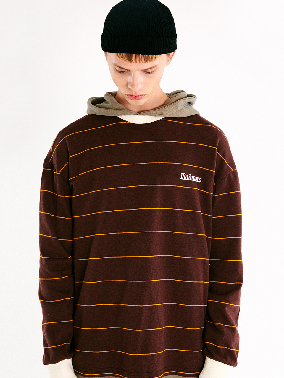 [매드마르스]LINE STRIPE LONGSLEEVE T-SHIRT_BROWN