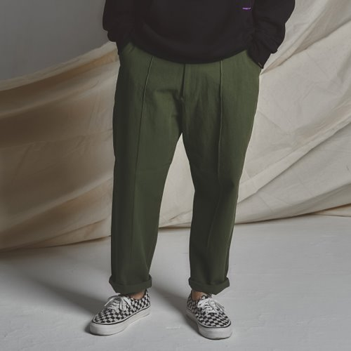 [스테이지 네임]STG Pintuck Wide Pants_KHAKI