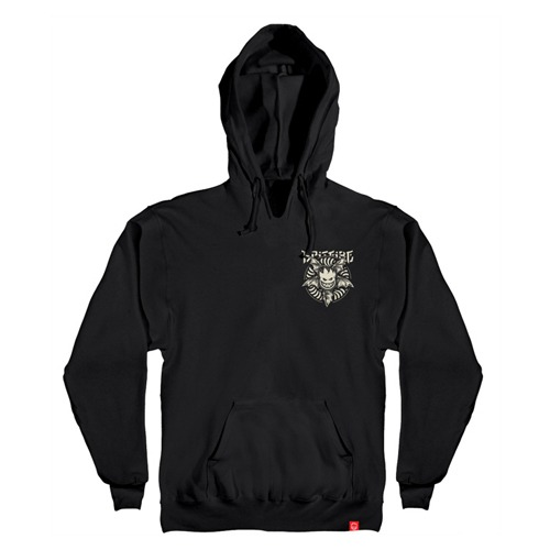 [Spitfire] NOCTURNUS Pullover Hooded Sweatshirt - BLACK / RAW DISCHARGE Prints