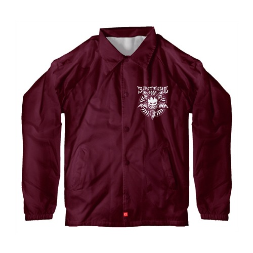 [Spitfire] NOCTURNUS Windbreaker/Coaches Jacket - MAROON / WHITE Prints