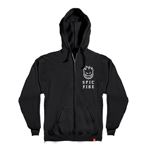 [Spitfire] STEADY ROCKIN Hooded Zip Up Sweatshirt - BLACK / WHITE Prints