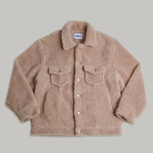 [OBJECT] SHERPA TRUCKER JACKET - BEIGE