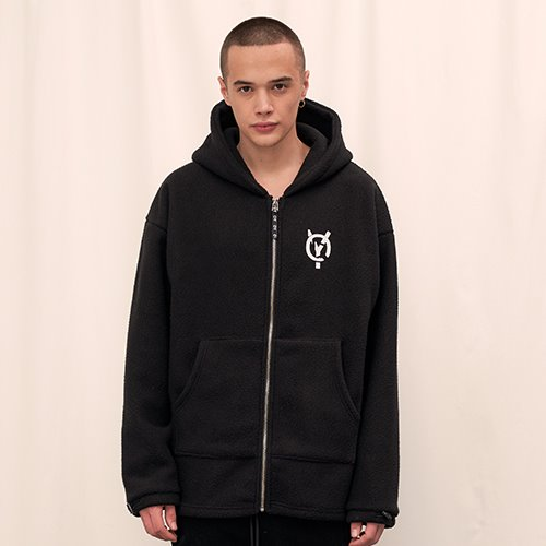 [OY] FLEECE HOOD ZIP - BK