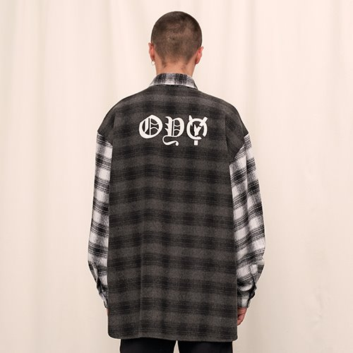[OY] WOOL CHECK MIX SHIRTS - BK
