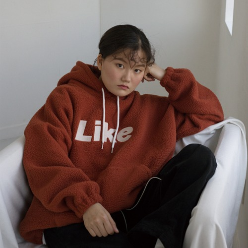 [언라이크룩]LIKE FLEECE HOODIE (brown/기모)