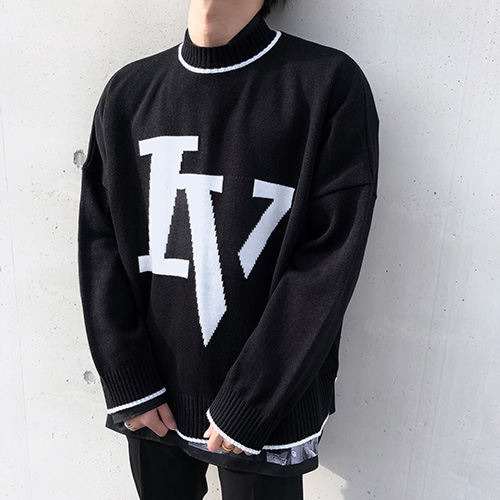 [4BLESS] Iv Logo Knit Black