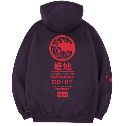 [Candlroute] Great wave Half zipup Hoody - dark magenta