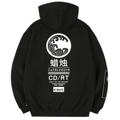 [Candlroute] Great wave Half zipup Hoody - black