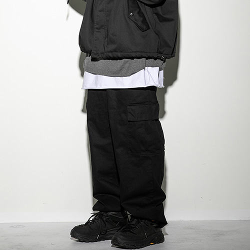 [FLAREUP] Wide cargo pants (FU-213_CBK) - black