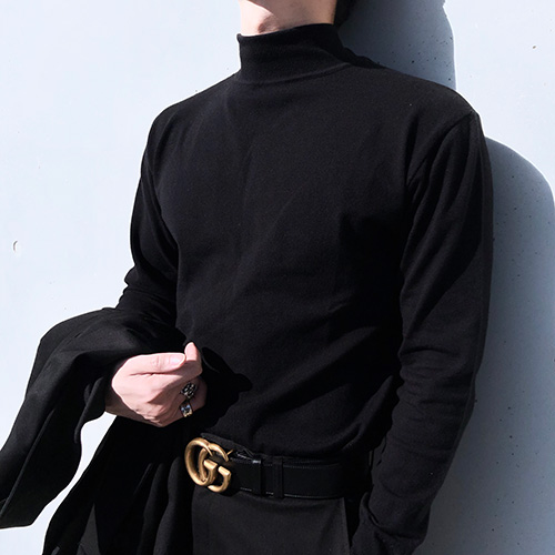 [4BLESS] 2way Patch Turtleneck Black