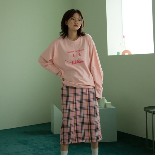 [UNLIKELOOK] SMILE LONG SLEEVE TEE (PINK)